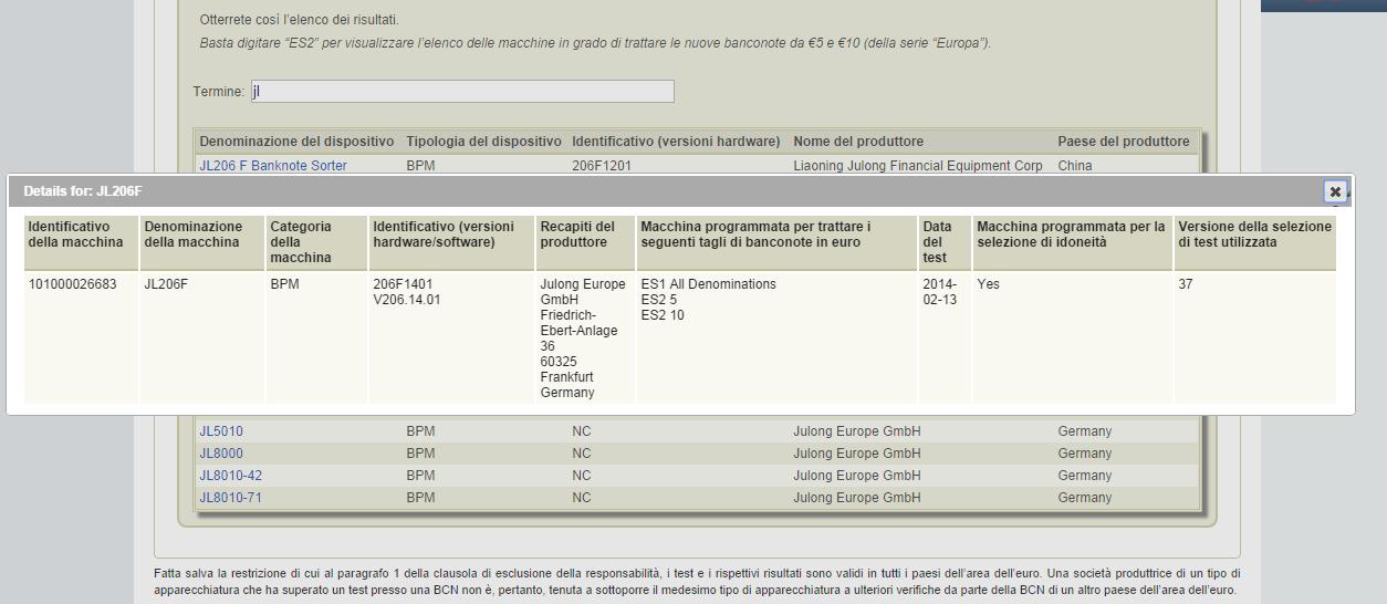 certificazione JL206